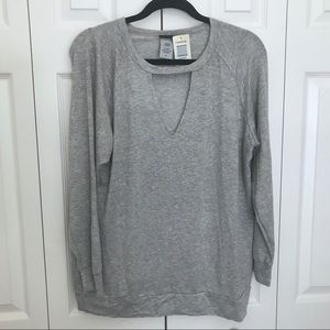 Torrid Faux Choker Grey Light Wright Sweatshirt